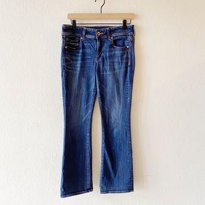 AE Super Stretch Kick Boot Cut Flare Dark Jeans